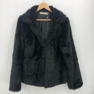 Costa Blanca NWOT L faux fur black pockets collar